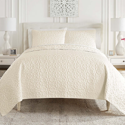Mosaic Ivory Coverlet Set [Luxury comforter Sets] [by Latest Bedding]