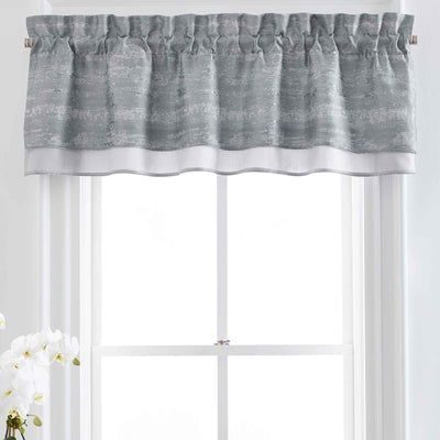 Nova Silver Double Layered Window Valance [Luxury comforter Sets] [by Latest Bedding]