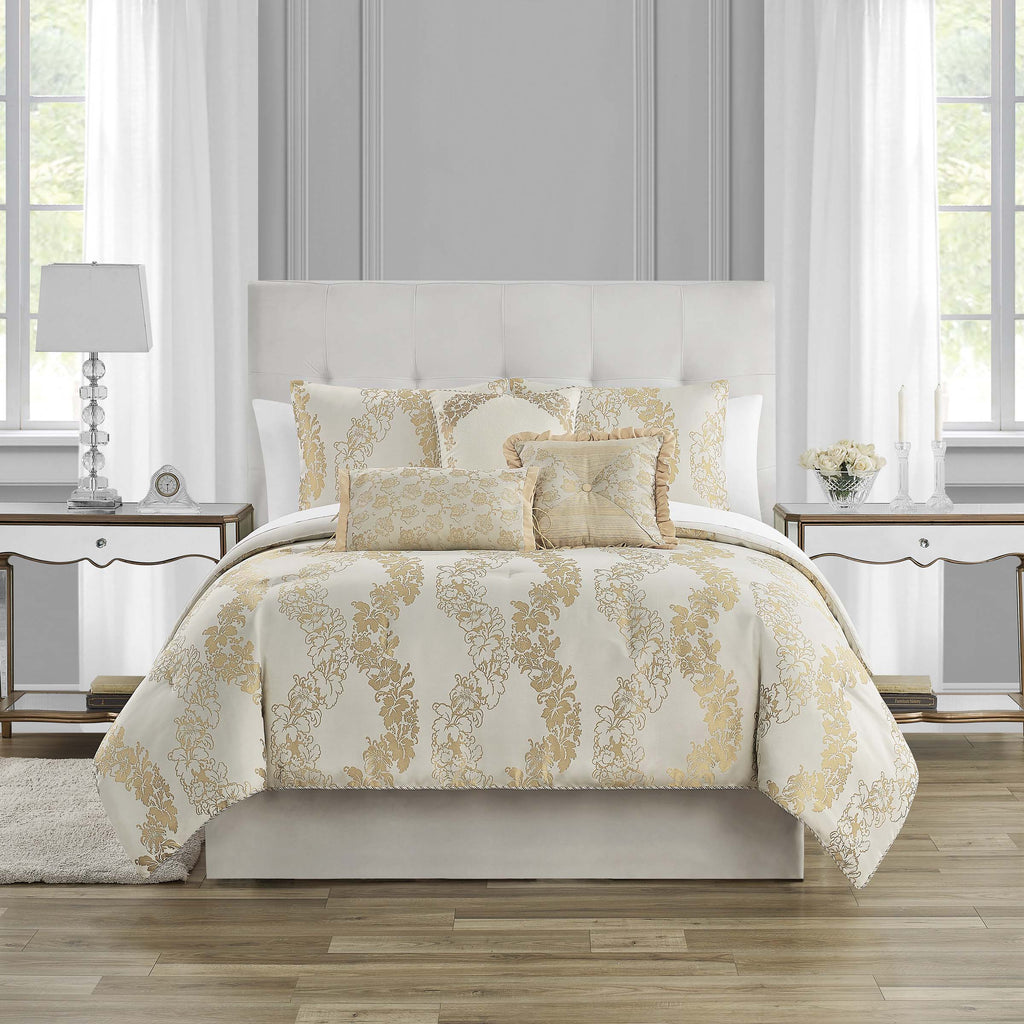 Oban Ivory 7-Piece Comforter Set [Luxury comforter Sets] [by Latest Bedding]