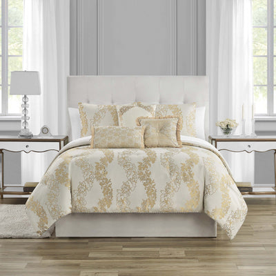 Oban Ivory 7-Piece Comforter Set Comforter Sets By Waterford