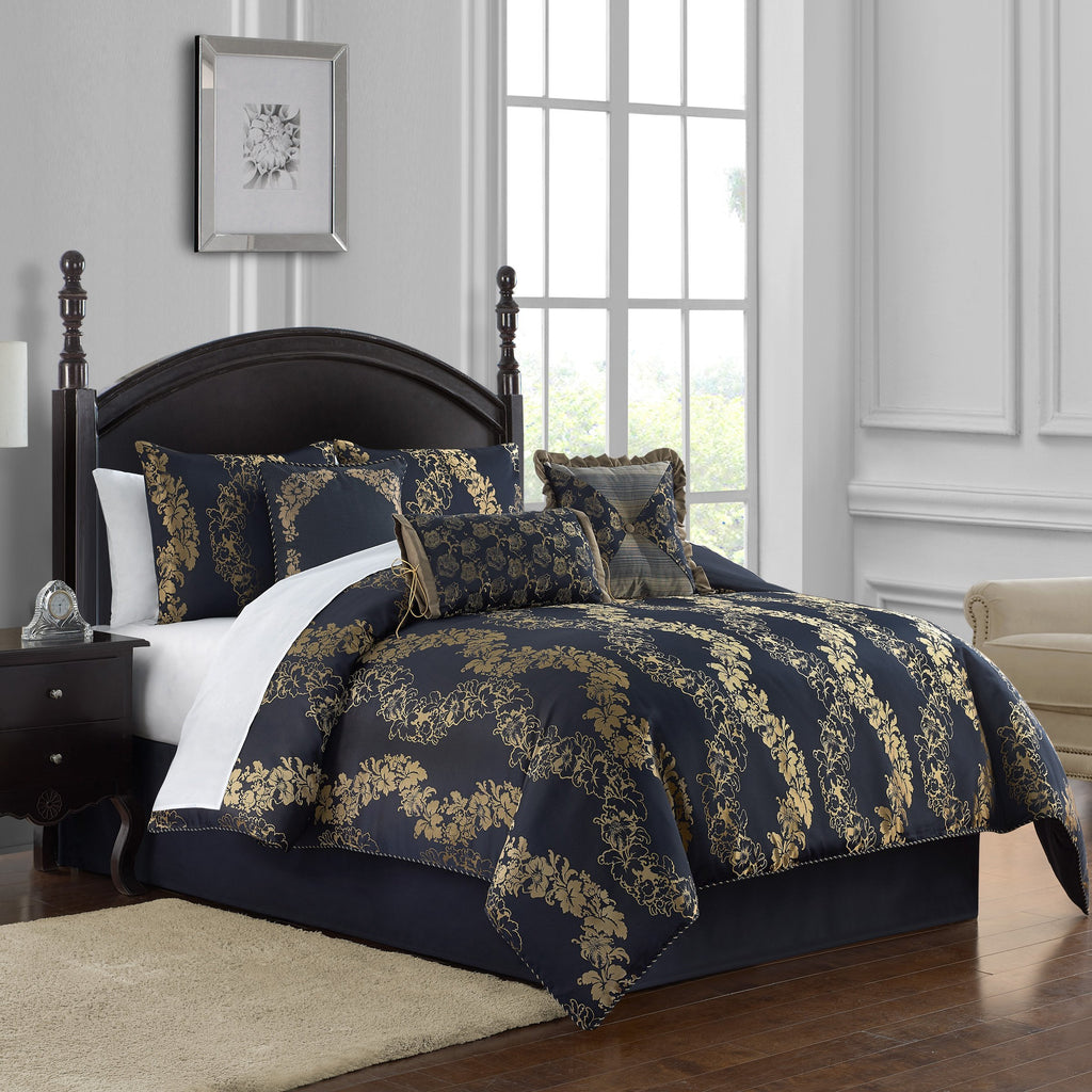 Oban Navy 7-Piece Comforter Set [Luxury comforter Sets] [by Latest Bedding]