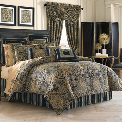 Palmer Teal 4-Piece Comforter Set Comforter Sets By J. Queen New York