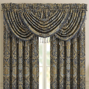 Palmer Teal Waterfall Window Valance [Luxury comforter Sets] [by Latest Bedding]