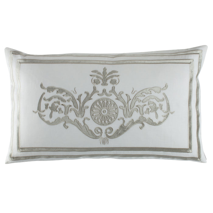Paris White Linen Ice Silver Velvet Large Rectangle Pillow