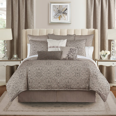 Patrizia Mocha 4-Piece Comforter Set Comforter Sets By Waterford