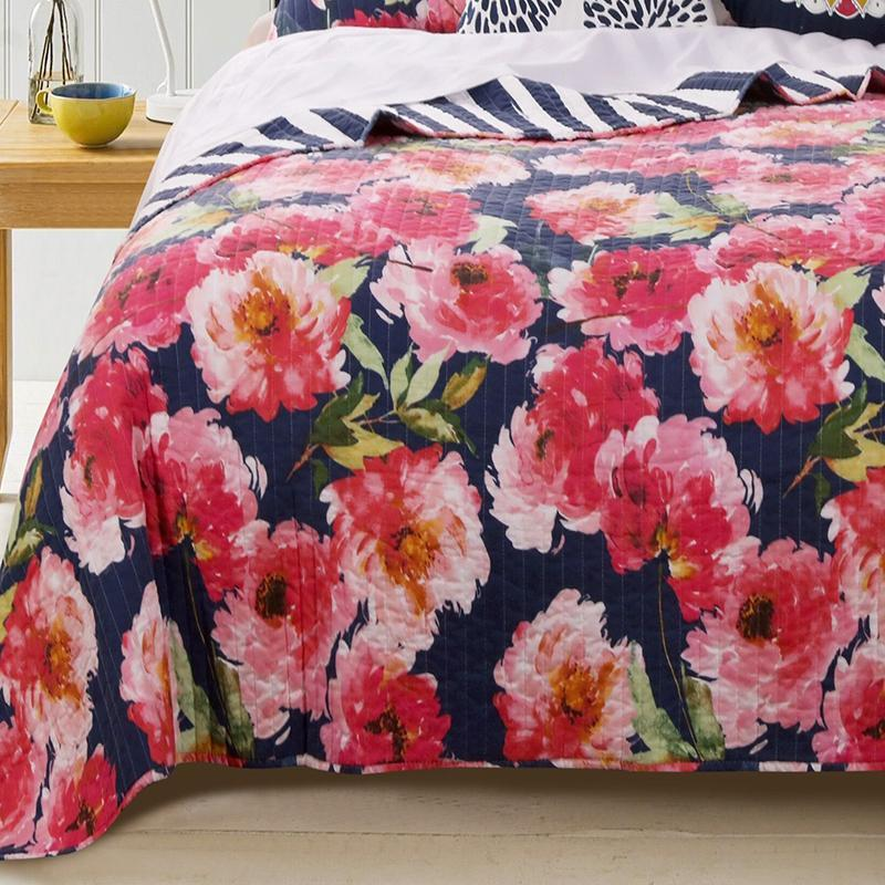 Quilt Sets Peony Posy Navy 3-Piece Quilt Set Latest Bedding