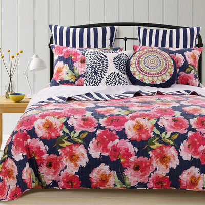 Peony Posy Navy 3-Piece Quilt Set [Luxury comforter Sets] [by Latest Bedding]
