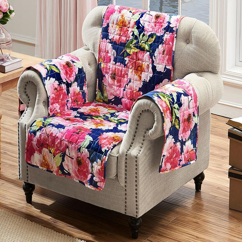 Slipcovers Peony Posy Navy Furniture Protector Arm Chair Latest Bedding