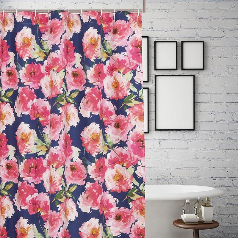 Shower Curtain Peony Posy Navy Bath Shower Curtain Latest Bedding