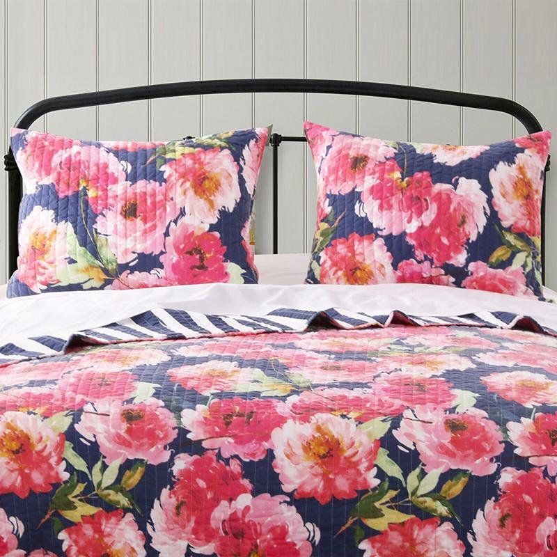 Peony Posy Navy Sham [Luxury comforter Sets] [by Latest Bedding]