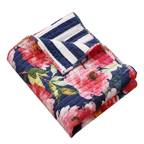 Throws Peony Posy Navy Throw Latest Bedding