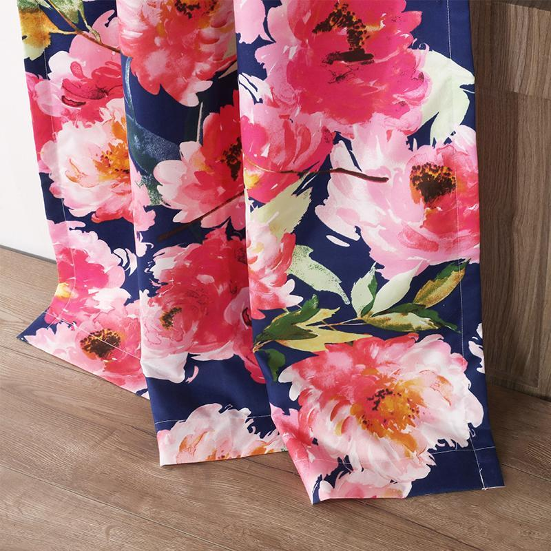 Curtains Peony Posy Navy Window Panel Pair Latest Bedding