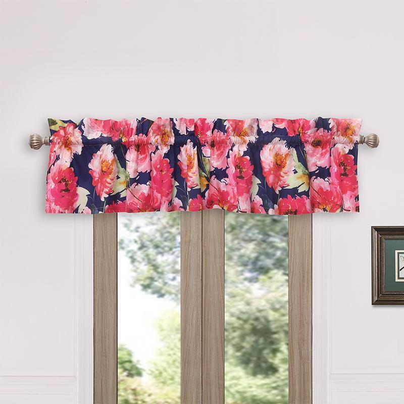 Peony Posy Navy Window Valance [Luxury comforter Sets] [by Latest Bedding]
