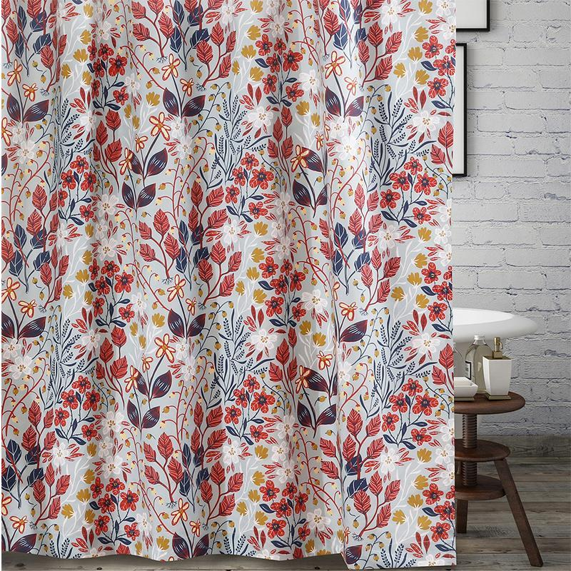 Perry Multi Bath Shower Curtain [Luxury comforter Sets] [by Latest Bedding]