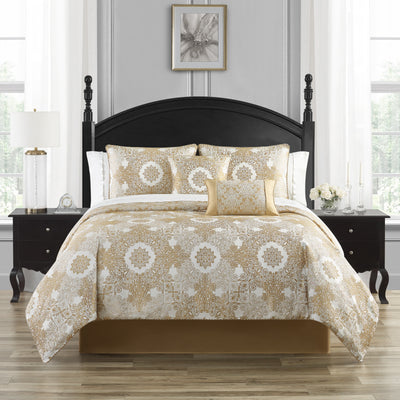 Piazza Ivory 4-Piece Comforter Set Comforter Sets By Waterford
