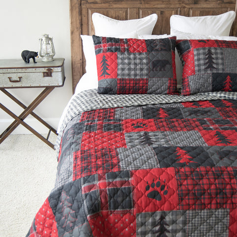 Red Forest 3-Piece Quilt Set [Luxury comforter Sets] [by Latest Bedding]