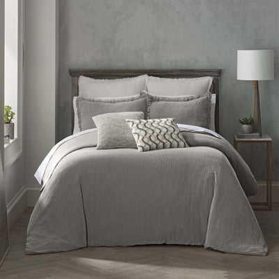 Reese Gray 3-Piece Duvet Cover Set Duvet Sets By Waterford