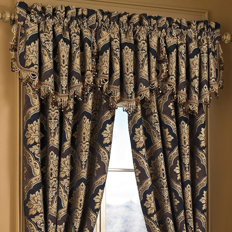 Reilly Black Ascot Window Valance [Luxury comforter Sets] [by Latest Bedding]