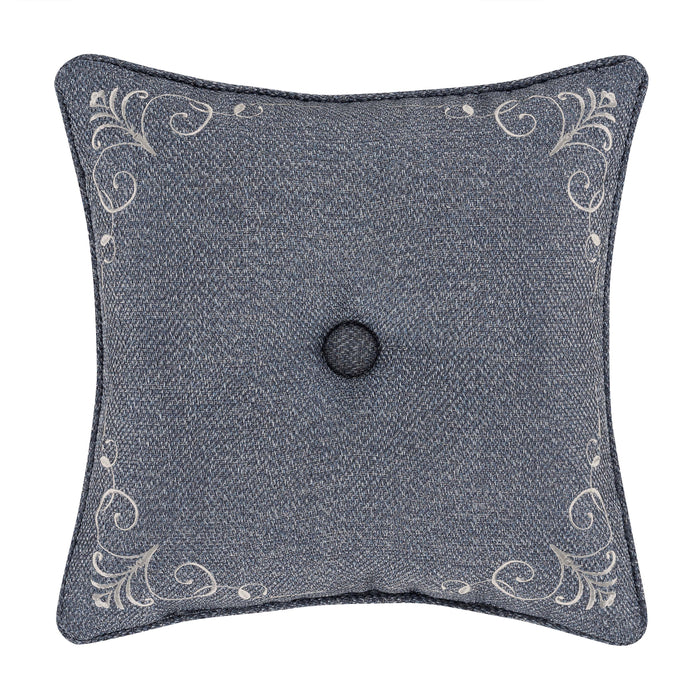 "Richmond Indigo Square Decorative Throw Pillow 18"" x 18""-"