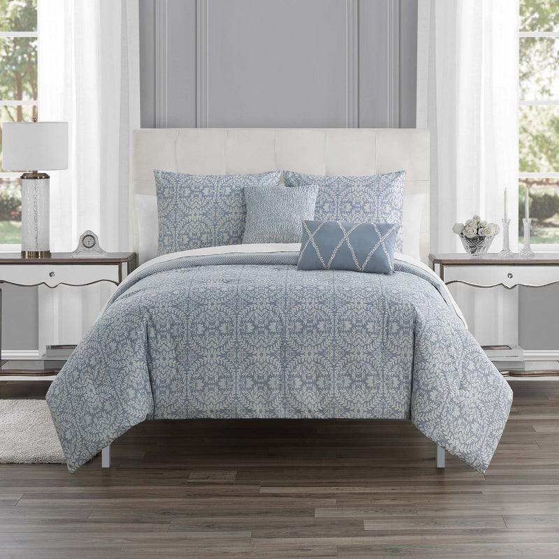 Rouen Periwinkle 5-Piece Comforter Set [Luxury comforter Sets] [by Latest Bedding]