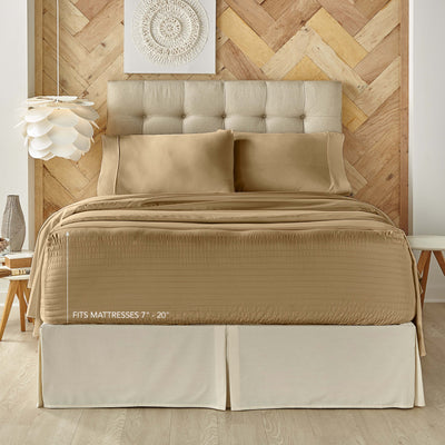 Royal Fit Coolmax Taupe 4-Piece Sheet Set Sheet Set By J. Queen New York