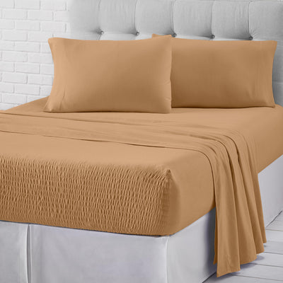 Royal Fit Flannel Tan 4-Piece Sheet Set Sheet Set By J. Queen New York