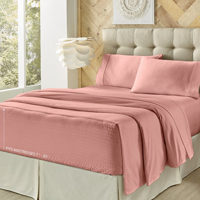 Royal Fit Ash Rose 4-Piece Microfiber Sheet Set Sheet Set By J. Queen New York