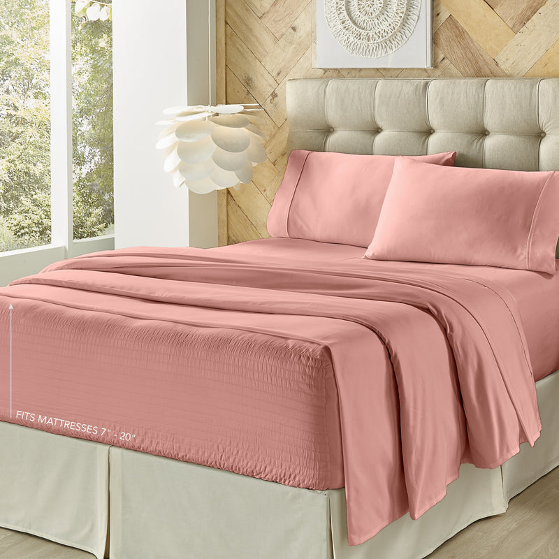 Royal Fit Ash Rose 4-Piece Microfiber Sheet Set [Luxury comforter Sets] [by Latest Bedding]