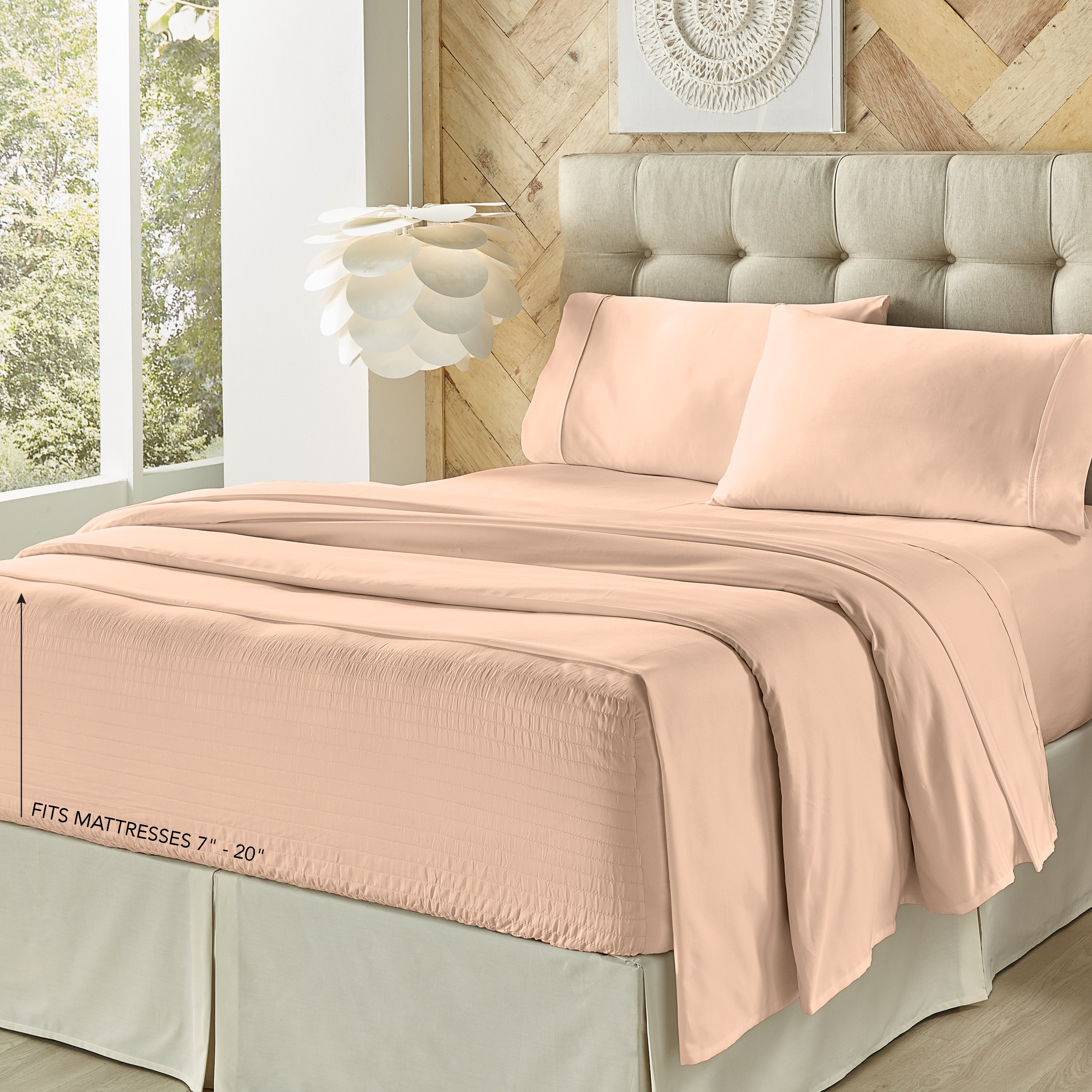 Royal Fit Blush 500 Thread Count 4-Piece Sheet Set [Luxury comforter Sets] [by Latest Bedding]