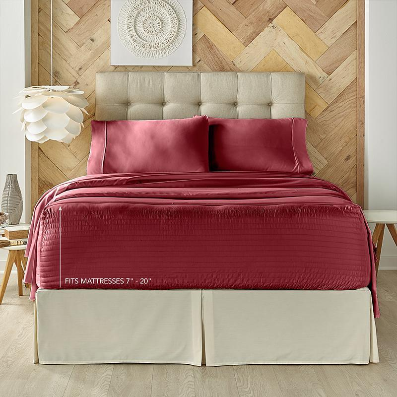 Royal Fit Burgundy 300 Thread Count 4-Piece Sheet Set [Luxury comforter Sets] [by Latest Bedding]