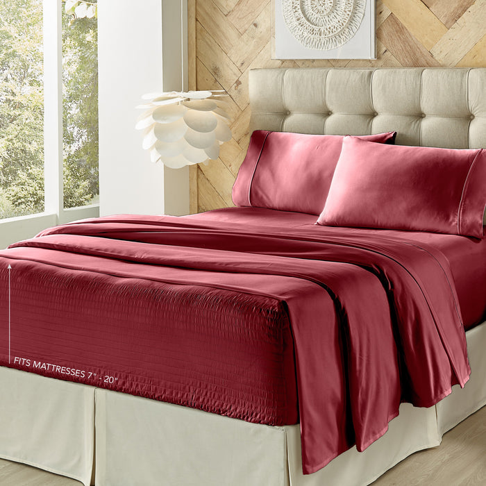 Royal Fit Burgundy 300 Thread Count 4-Piece Sheet Set