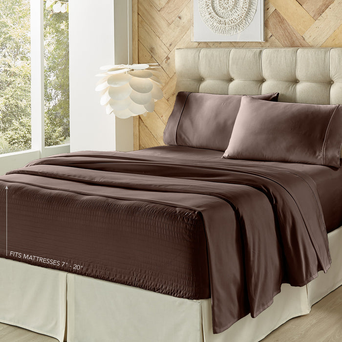Royal Fit Chocolate 300 Thread Count 4-Piece Sheet Set