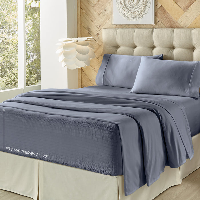 Royal Fit Dark Blue 300 Thread Count 4-Piece Sheet Set
