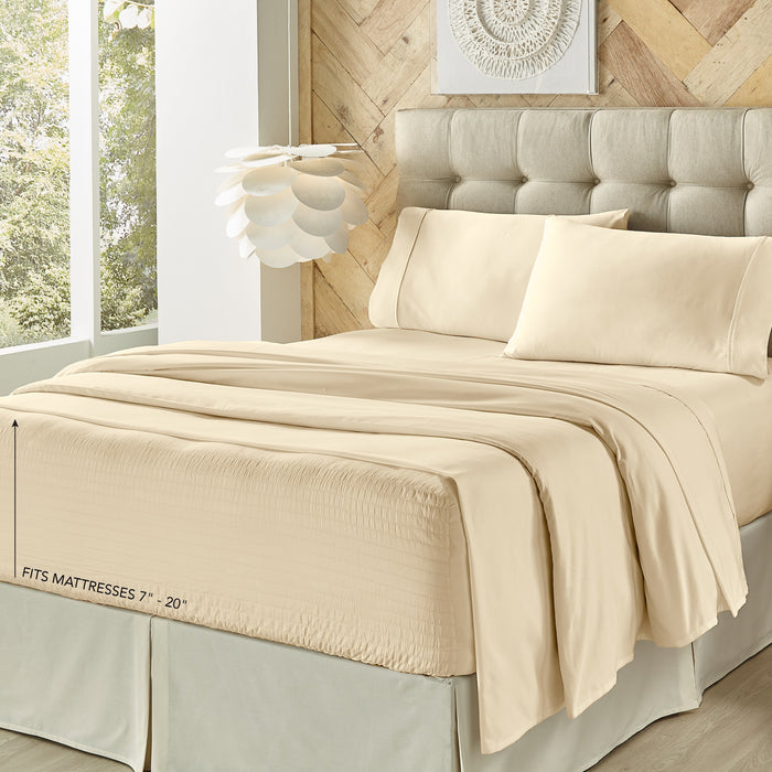 Royal Fit Ivory 300 Thread Count 4-Piece Sheet Set