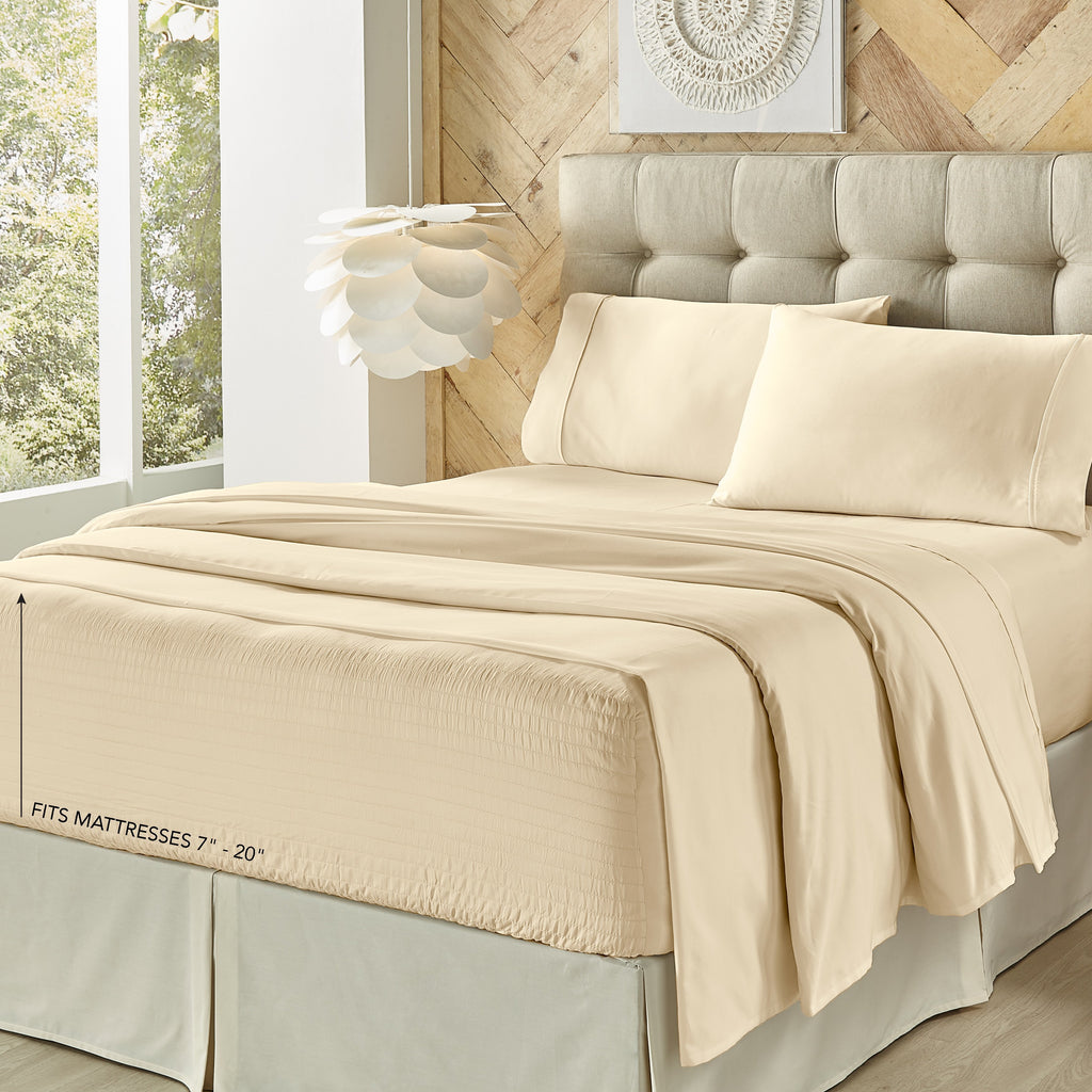 Royal Fit Ivory 4-Piece Microfiber Sheet Set [Luxury comforter Sets] [by Latest Bedding]