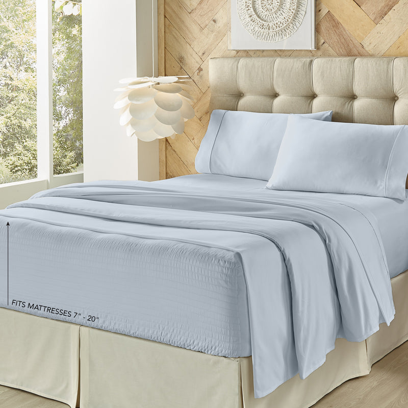 Royal Fit Light Blue 4-Piece Microfiber Sheet Set [Luxury comforter Sets] [by Latest Bedding]
