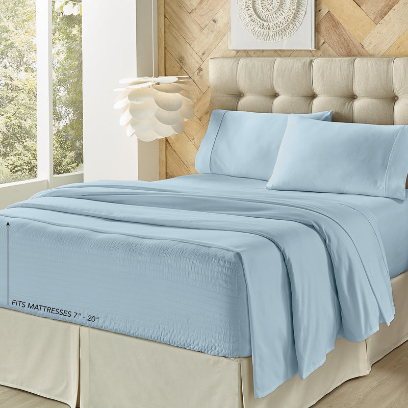 Royal Fit Light Blue 800 Thread Count 4-Piece Sheet Set [Luxury comforter Sets] [by Latest Bedding]