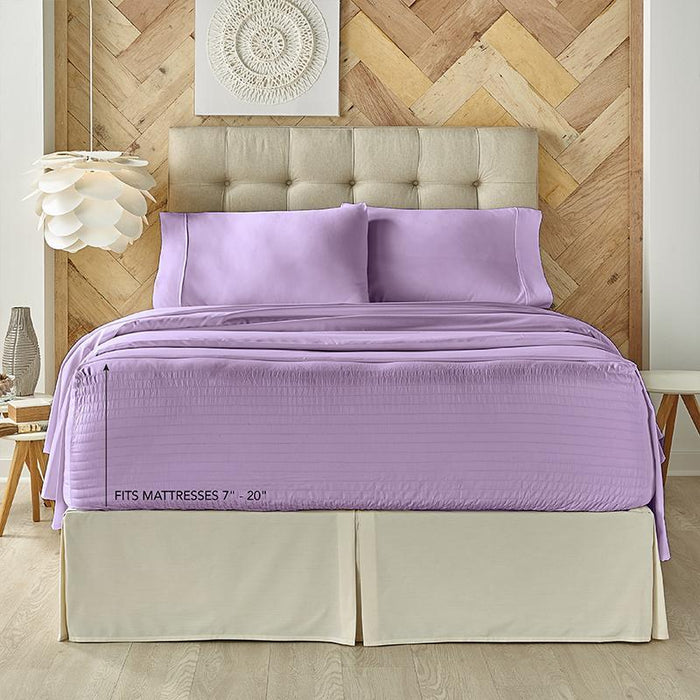Royal Fit Lilac 4-Piece Microfiber Sheet Set