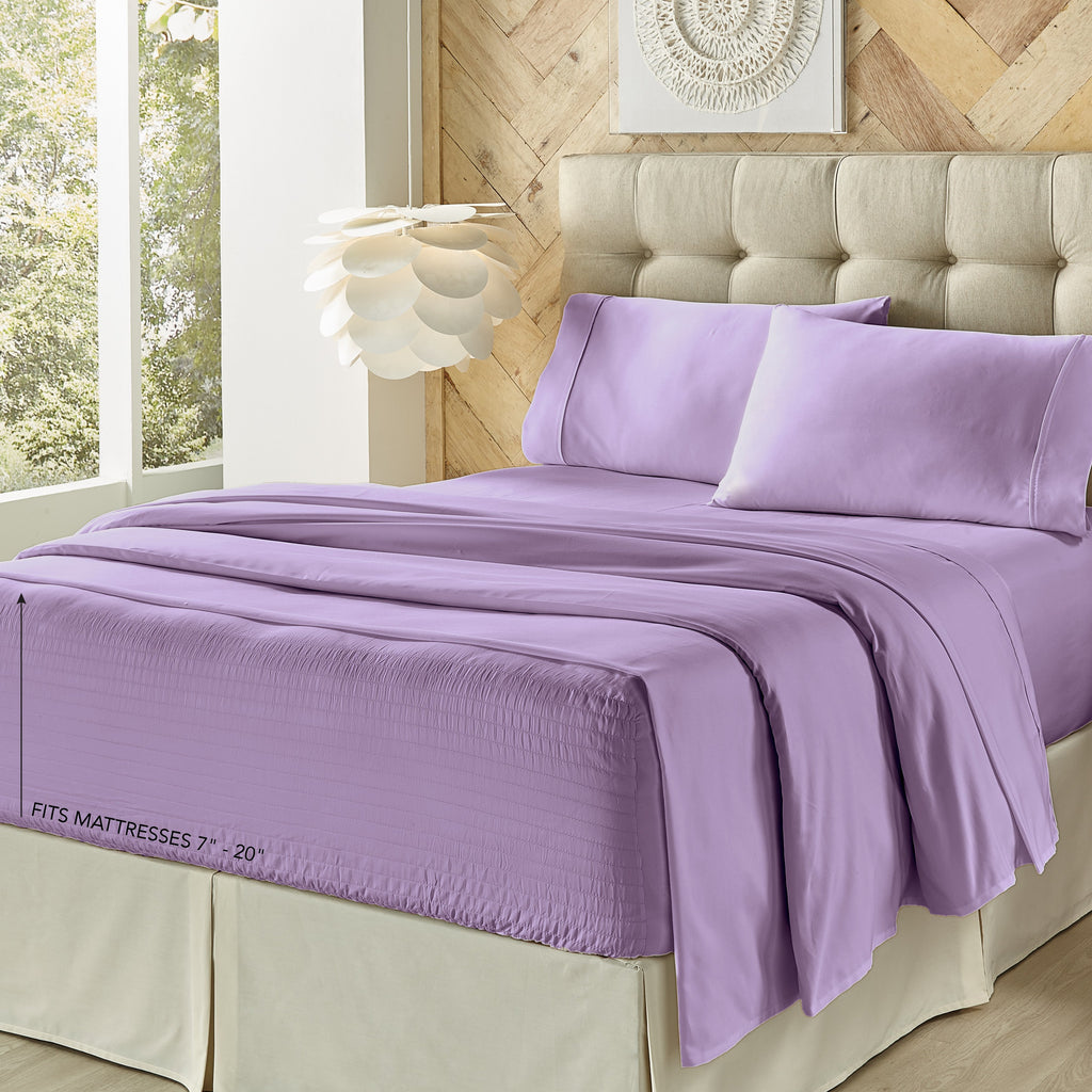 Royal Fit Lilac 300 Thread Count 4-Piece Sheet Set [Luxury comforter Sets] [by Latest Bedding]