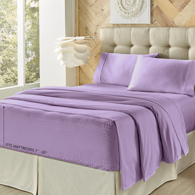 Royal Fit Lilac 300 Thread Count 4-Piece Sheet Set Sheet Set By J. Queen New York