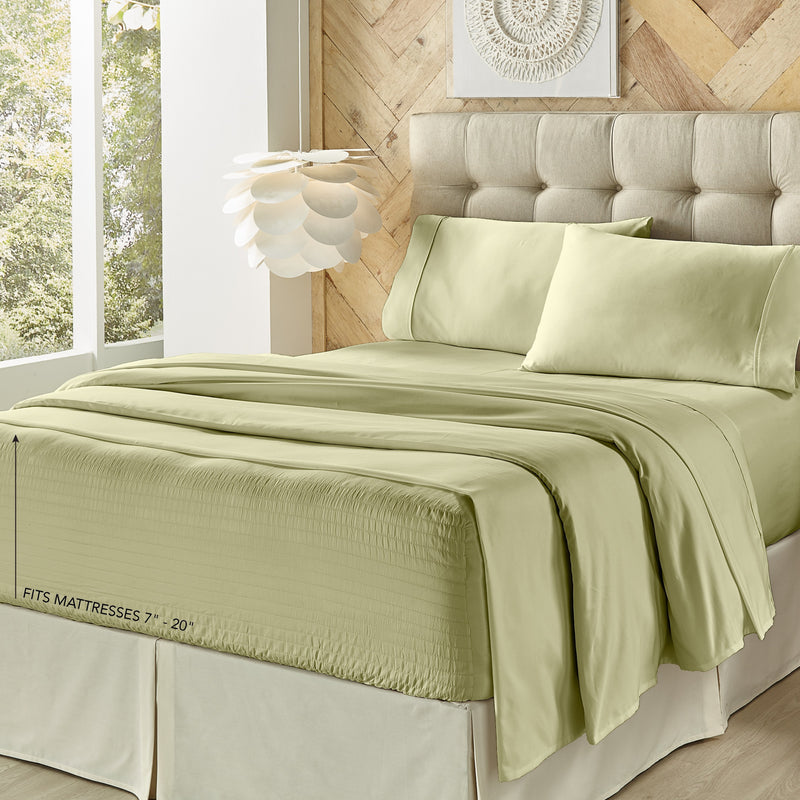 Royal Fit Sage 4-Piece Microfiber Sheet Set [Luxury comforter Sets] [by Latest Bedding]