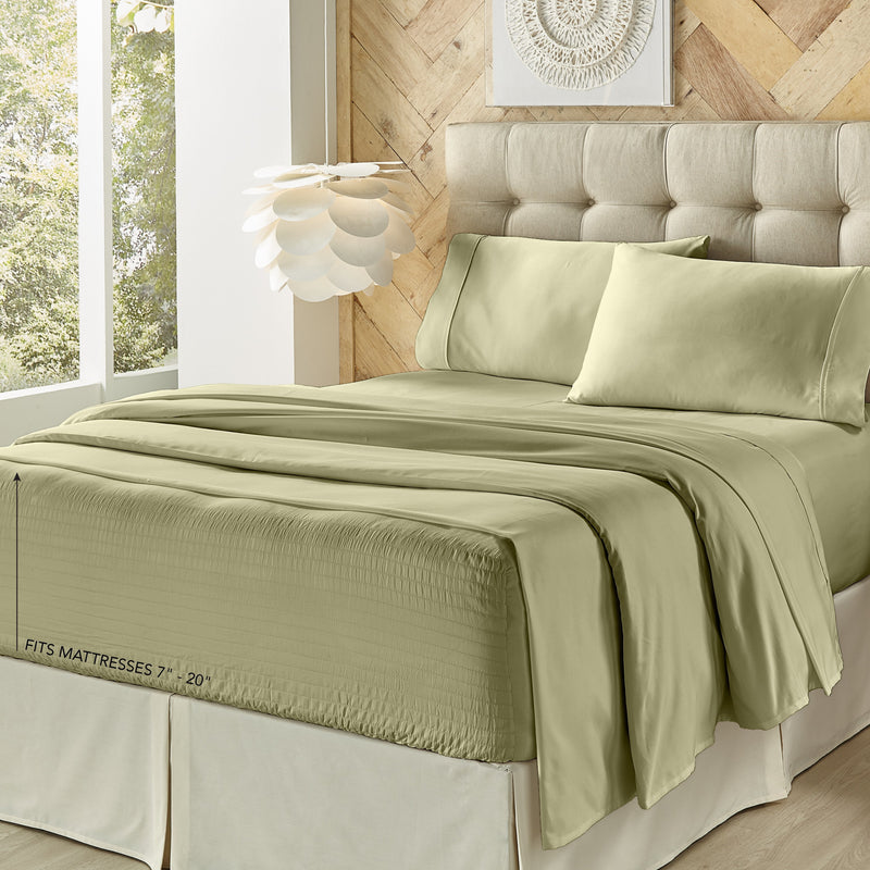 Royal Fit Sage 500 Thread Count 4-Piece Sheet Set [Luxury comforter Sets] [by Latest Bedding]