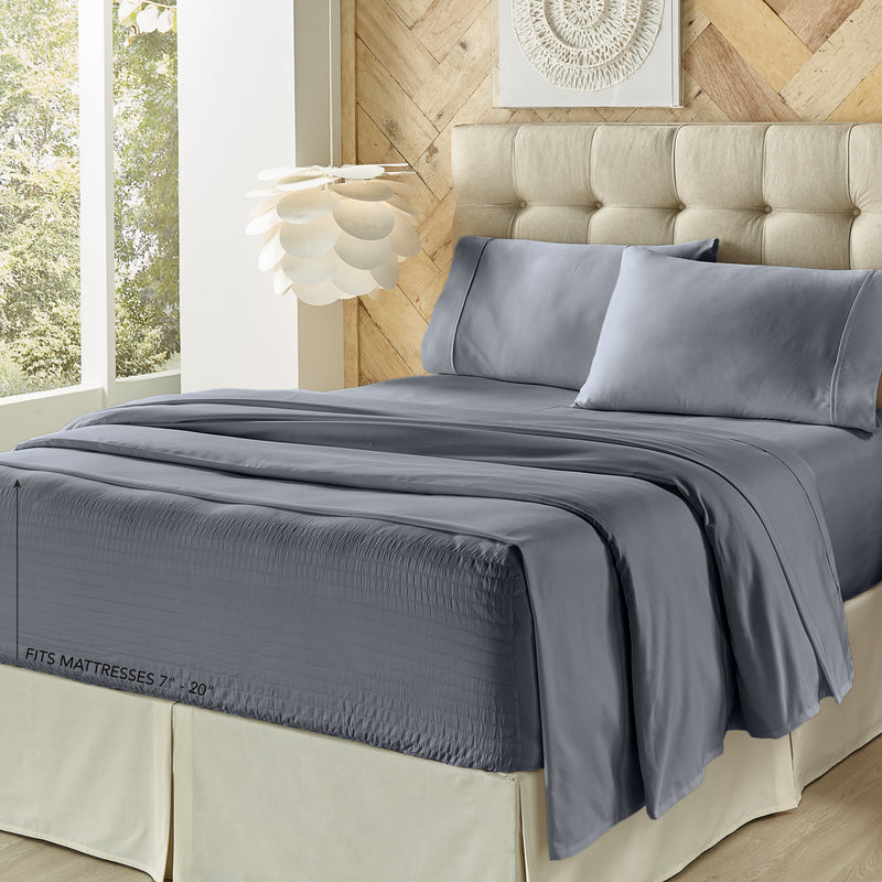Royal Fit Slate 500 Thread Count 4-Piece Sheet Set [Luxury comforter Sets] [by Latest Bedding]