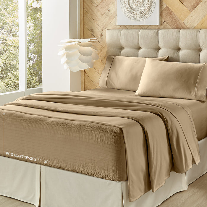 Royal Fit Tan 500 Thread Count 4-Piece Sheet Set