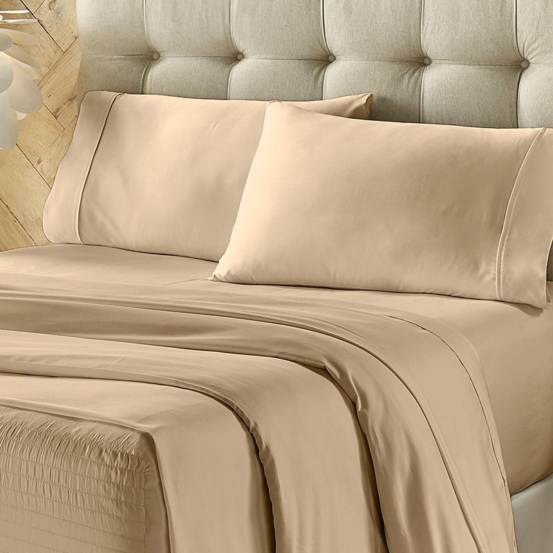 Royal Fit Taupe 300 Thread Count 4-Piece Sheet Set Sheet Set By J. Queen New York