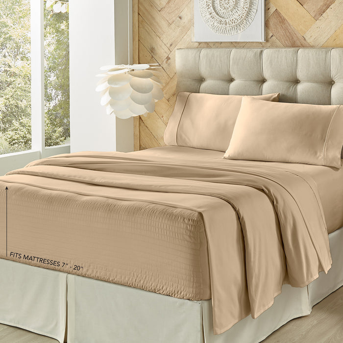 Royal Fit Taupe 300 Thread Count 4-Piece Sheet Set