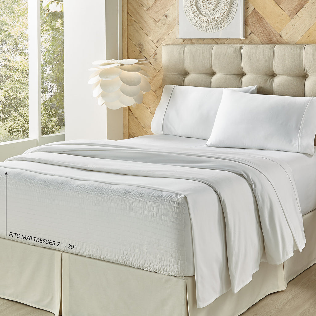 Royal Fit White 300 Thread Count 4-Piece Sheet Set [Luxury comforter Sets] [by Latest Bedding]