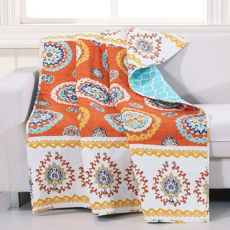 Throws Greenland Home Fashions Rozario Tangerine Microfiber Throw Latest Bedding