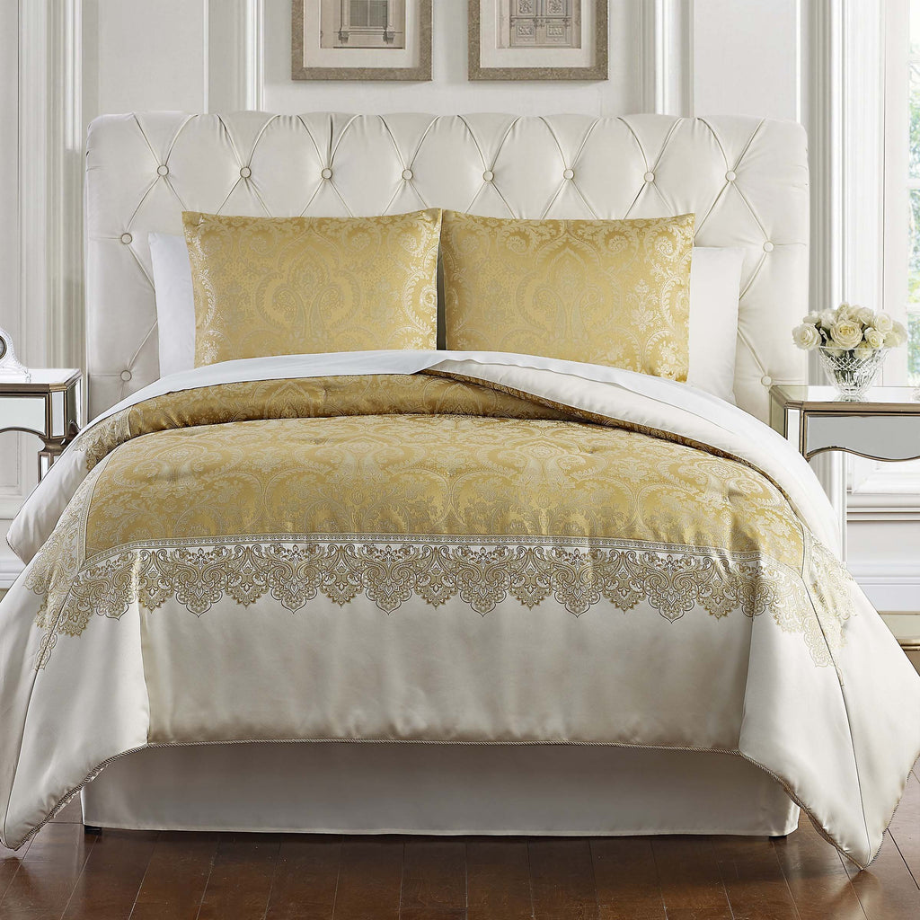 Russell Gold Square 4-Piece Comforter Set [Luxury comforter Sets] [by Latest Bedding]