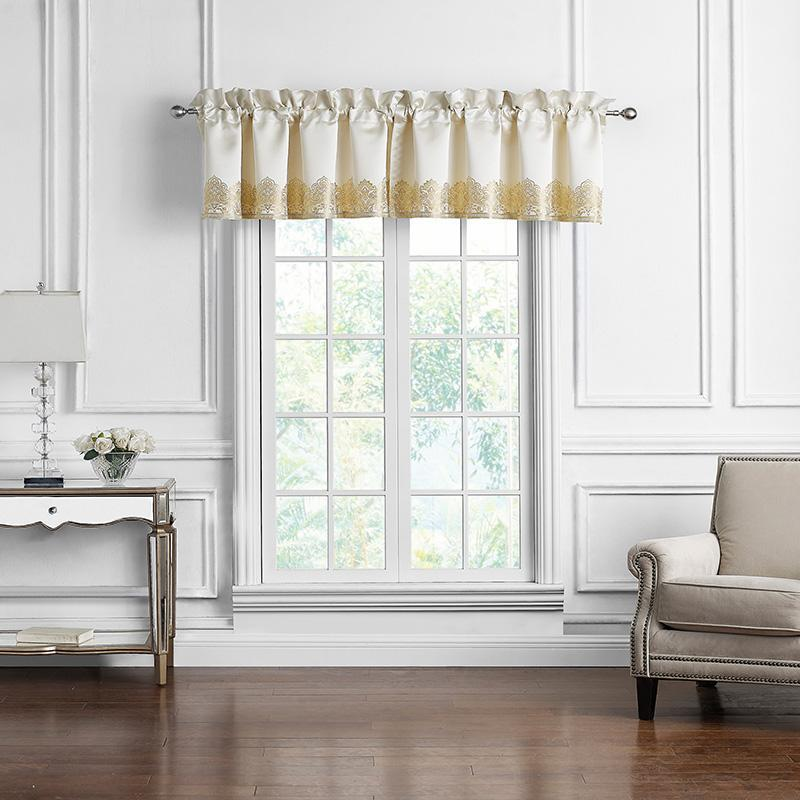 Russell Gold Square Tailored Window Valance [Luxury comforter Sets] [by Latest Bedding]